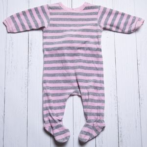 Coccoli Gray & Pink Velour Striped Footed Sleeper